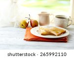 Toasts With Honey On Plate With ...