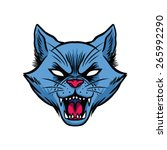 Stock vector angry cat head 265992290