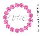 rose wreath. watercolor red...   Shutterstock .eps vector #265995116