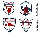set of fitness labels | Shutterstock .eps vector #266007824