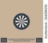 flat style icon with dart board ... | Shutterstock .eps vector #266008256