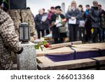 group of mourners staying by... | Shutterstock . vector #266013368