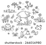 Forest Plants And Animals Set...