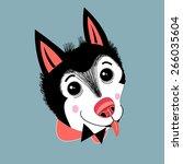 portrait of funny little husky... | Shutterstock .eps vector #266035604