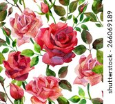 seamless pattern with red roses.... | Shutterstock . vector #266069189
