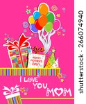happy mother's day  i love you... | Shutterstock .eps vector #266074940