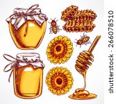 honey set. jars of honey  bees  ... | Shutterstock .eps vector #266078510