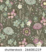 seamless flower pattern. vector ... | Shutterstock .eps vector #266081219