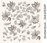 indian henna design elements  ... | Shutterstock .eps vector #266100269