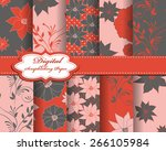 set of vector abstract flower...   Shutterstock .eps vector #266105984