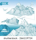 set of  mountains 3d in... | Shutterstock .eps vector #266119724