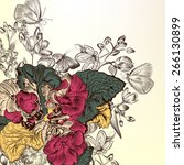 floral background with engraved ... | Shutterstock .eps vector #266130899