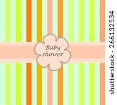 baby  shower card withframe for ... | Shutterstock .eps vector #266132534