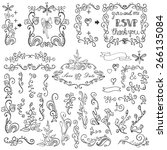 wedding doodles floral decor... | Shutterstock .eps vector #266135084