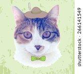 vector vintage fashion cat   Shutterstock .eps vector #266141549