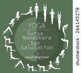 yoga poses  surya namaskara ... | Shutterstock .eps vector #266145278