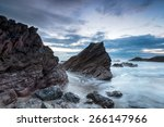 cloudy dusk at whitsand bay in...