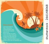 surfer and big sea wave... | Shutterstock .eps vector #266148068