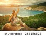 happy woman traveler looking on ... | Shutterstock . vector #266156828