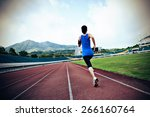 young fitness woman runner ... | Shutterstock . vector #266160764