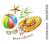 beach collection  each element... | Shutterstock .eps vector #266189330