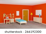 teenage room with a bed and a... | Shutterstock . vector #266192300