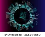 vector buildings  trees  lines... | Shutterstock .eps vector #266194550