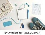 top view of bag content...   Shutterstock . vector #266205914