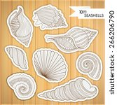 a collection of sea shells. set ... | Shutterstock .eps vector #266206790