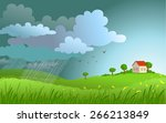 dramatic landscape with... | Shutterstock .eps vector #266213849