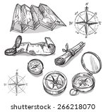 set of hand drawn compasses and ... | Shutterstock .eps vector #266218070