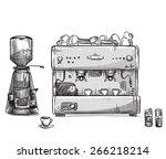 set coffee making equipment.... | Shutterstock .eps vector #266218214