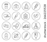 set of vector medical line... | Shutterstock .eps vector #266225528
