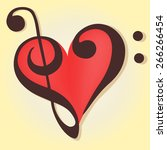 musical heart in a bass and... | Shutterstock .eps vector #266266454