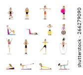 fitness people workouts set  ... | Shutterstock .eps vector #266279090