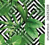 Print summer exotic jungle plant  tropical palm leaves. Pattern, seamless floral vector on the black white geometric background. Nature wallpaper. | Shutterstock vector #266281208