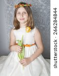 little girl with bunch of... | Shutterstock . vector #266284844