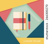 notebook flat icon with long... | Shutterstock .eps vector #266300270