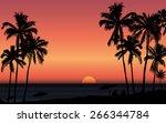 tropical sunrise at seashore... | Shutterstock .eps vector #266344784