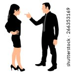 man yelling pointing at woman ... | Shutterstock .eps vector #266353169