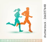 running man and woman... | Shutterstock .eps vector #266357648