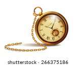 gold vintage clock with roman... | Shutterstock .eps vector #266375186