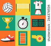 vector set of volleyball icons  ... | Shutterstock .eps vector #266378534