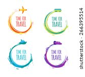 time for travel. colorful... | Shutterstock .eps vector #266395514