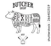 butcher cuts scheme of beef...   Shutterstock .eps vector #266402519