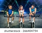 young people  doing spinning... | Shutterstock . vector #266404754
