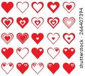 heart icons set | Shutterstock .eps vector #266407394