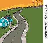 little blue house receiving...   Shutterstock .eps vector #266417468