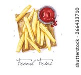 french fries   watercolor food...   Shutterstock . vector #266433710