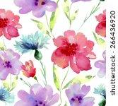 watercolor flowers seamless... | Shutterstock .eps vector #266436920